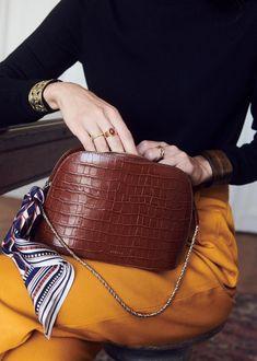 Sezane's Pre-Fall Collection is Their Best Yet Fall Handbags, Luxury Handbags, Ladies Handbags, Trendy Handbags, Cheap Handbags, Crocodile, Purse Brands, Looks Vintage, Vintage Bag