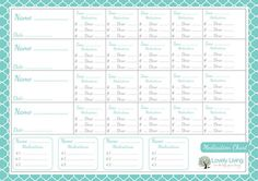 medication chart, when more than one in the house, especially kids, are sick, a  printable to keep track of who had what & when
