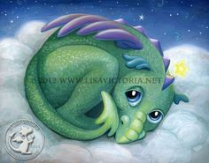 Dragon art, friendly dragon, cute dragon, art print, nursery art, nursery artwork, fine art print, dragon, dragons, cloud, stars, night Lisa Victoria, fantasy, fantasy art, fairies, fairy tale, greeting card, magnet, sticker, children's decor, kid's wall art