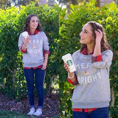 MERRY & BRIGHT // Festive Christmas sweatshirt from @americaneagle-plaid shirt, festive Christmas sweatshirt, dark wash skinny jeans, and white Converse. #AEOSTYLE #americaneagle #christmassweater #christmasoutfit #converseoutfit