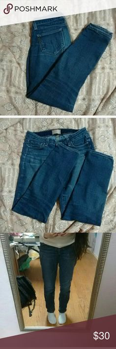 Paige Relaxed Straight Leg Jeans Size 24 Says Peg Skinny but fits like relaxed straight. Medium wash. Worn by previous owner, fair used condition. Broken in and soft. Short inseam. Paige Jeans Jeans Straight Leg