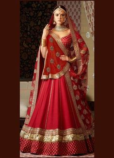 Red Colour Taffeta Silk Fabric Party Wear Lehenga Choli Comes With Matching Blouse. This Lehenga Choli Is Crafted With Embroidery. This Lehenga Choli Comes With Unstitched Blouse Which Can Be Stitched. Indian Bridal Outfits, Indian Bridal Fashion, Indian Bridal Wear, Indian Designer Outfits, Indian Dresses, Indian Wedding Clothes, Indian Wedding Sari, Indian Party, Designer Bridal Lehenga