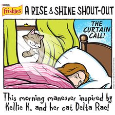 """Thank You, Kellie K.! We've turned Delta Rae's Rise & Shine morning maneuver into our newest cartoon: """"The Curtain Call."""" Enjoy…"""