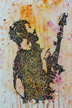 Brad Delson Linkin Park Doodle Sketch Watercolour Art Guitar Guitarist drawing Song Music Design creative decor