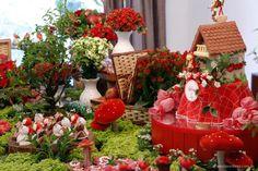 festa chapeuzinho vermelho com mesa decorada em forma de bosque com plantas e…