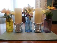 Upcycled glass jars & wedding flowers. Pretty!