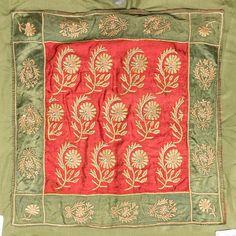 A metal thread embroidered silk panel, Turkey, 18th century.