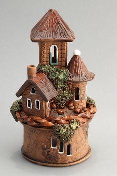 Clay Fairy House, Gnome House, Mini Fairy Garden, Fairy Garden Houses, Fairy Gardens, Clay Houses, Ceramic Houses, Miniature Crafts, Miniature Houses