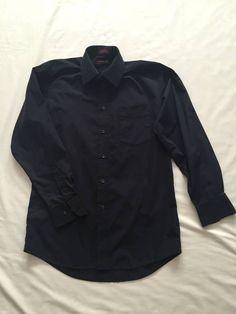 Men's  Dress Shirt  BLACK Longsleeve made by Covington Wrinkle Resistant ! #Covington