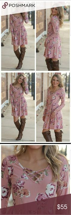 Coming soon! Valentine's date night dress! Cute for that Valentine's date night! Pink floral dress. Long sleeves. Babydoll style. Criss cross detail. Like to be notified by price drop! Infinity Raine Dresses