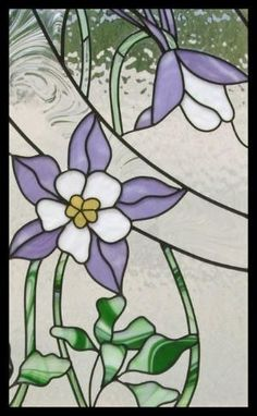 columbine flower stained glass - another front door inset idea? by Ammazed