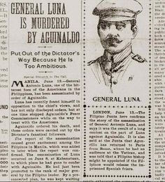 On June the San Francisco Call came out with the news of Luna's death, blaming Aguinaldo for the murder. Source: Philippine-American War, by Arnaldo Dumindin. Emilio Aguinaldo, Military Honors, The Spanish American War, Filipino Culture, Reading Stories, Historical Pictures, History Facts, Manila, Philippines