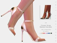 Clover Strap Heeled Sandals  Found in TSR Category 'Sims 4 Shoes Female'