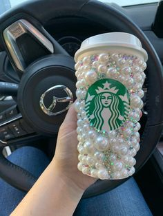 Items similar to Pearl and crystal covered travel cup. Rhinestone to go cup. on Etsy Custom Starbucks Cup, Starbucks Drinks, Starbucks Coffee, Glitter Cups, Purple Glitter, Starbucks Tassen, Starbucks Merchandise, To Go, Cute Cups