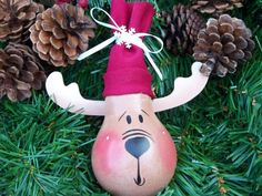 Hand Painted  Light Bulb Christmas Reindeer  Ornament
