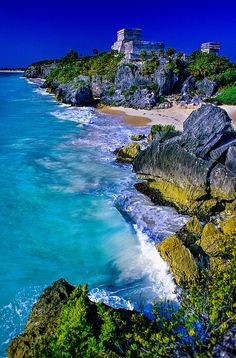 Castillo, Tulum, a Mayan archaeological site on the coast of the Caribbean Sea…