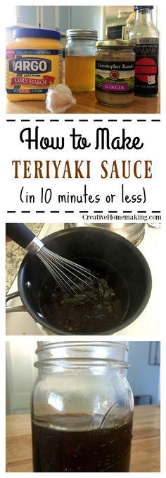 Easy homemade teriyaki sauce you can make in 10 minutes or less. Easy homemade teriyaki sauce you can make in 10 minutes or less. Receta Salsa Teriyaki, Molho Teriyaki, Make Teriyaki Sauce, Teriyaki Marinade, Teryaki Sauce Recipe, Gluten Free Teriyaki Sauce, Sauce Recipes, Seafood Recipes, Gastronomia