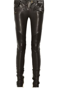 Balmain|Leather motocross-style skinny pants|NET-A-PORTER.COM