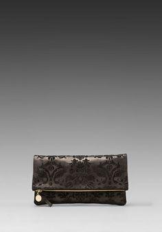 CLARE VIVIER Foldover Clutch in Black Brocade -