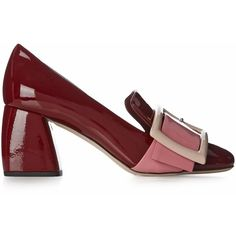 Miu Miu Block-heel patent-leather loafers (3 300 PLN) ❤ liked on Polyvore featuring shoes, loafers, buckle loafers, loafer shoes, block heel loafers, patent leather loafers and loafers moccasins