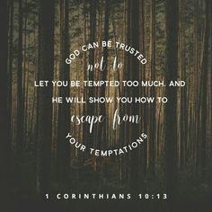 Ustedes no han sufrido ninguna tentación que no sea común al género humano . Pero Dios es fiel, y no permitirá que ustedes sean tentados más allá de lo que puedan aguantar. Más bien, cuando llegue la tentación, él les dará también una salida a fin de que puedan resistir. 1 Corintios 10:13 NVI http://bible.com/128/1co.10.13.NVI