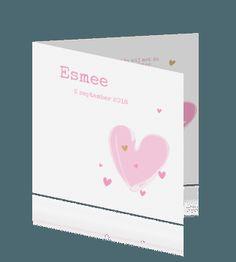 Geboortekaartje meisje met roze hart