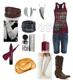 """""""Untitled #28"""" by cowgirlside ❤ liked on Polyvore featuring Current/Elliott, Free People, Durango, BERRICLE, Daytrip, Jewel Exclusive, ABS by Allen Schwartz, Forever 21, Bobbi Brown Cosmetics and Essie"""