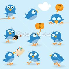 Vector funny blue birds icon set BIRD CLUB?