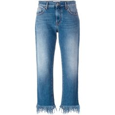 MSGM Frayed Hem Jeans (5 680 UAH) ❤ liked on Polyvore featuring jeans, pants, blue, blue jeans, msgm and frayed hem jeans