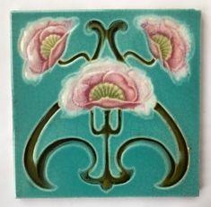 Pretty Original Antique Art Nouveau Majolica Tile C1902 Corn Bros | Antiques, Architectural Antiques, Tiles | eBay! Tile Art, Mosaic Tiles, Mosaics, Awesome Art, Cool Art, Art Nouveau Flowers, Art Nouveau Tiles, Artistic Tile, Bros