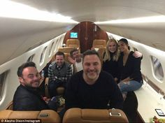 Friends in high places: (L-R) Anthony McPartlin, Declan Donnelly, Simon Connelly, David Walliams, Amanda Holden and Alesha Dixon flew by private jet to Blackpool on Tuesday night Americans Got Talent, Declan Donnelly, Ant & Dec, Britain's Got Talent, Alesha Dixon, Little Britain, Narcissistic People, Amanda Holden, Simon Cowell