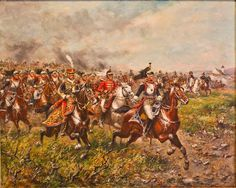 Cuirassiers, unsupported by artillery or infantry charge the field at Waterloo and assault the Anglo-Allied squares.