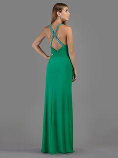 Βραδινό μακρύ φόρεμα με κέντημα στην πλάτη  - Βραδυνά Φορέματα