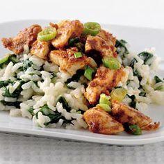 risotto met spinazie en kalkoen, vegetarische versie: http://www.ah.nl/allerhande/#/recepten/626084/tomaat-spinazierisotto/?groupId=28
