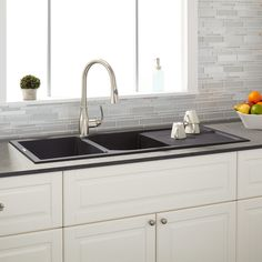 Tansi Double-Bowl Drop-In Sink with Drain Board - Black - Granite Composite Sinks - Kitchen Sinks - Kitchen Drop In Kitchen Sink, Drop In Sink, New Kitchen, Kitchen Redo, Kitchen Layout, Barn Kitchen, Condo Kitchen, Kitchen Small, Cheap Kitchen