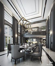 Luxury Dining Room, Dining Room Design, Luxury Homes Interior, Home Interior Design, High Ceiling Living Room, Model House Plan, Dining Room Inspiration, Modern House Design, House Rooms