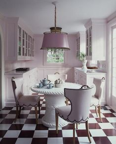 I really like this, but there is no way I could pull off a lavender kitchen, but it is lovely!