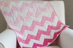 pink chevron baby doll quilt