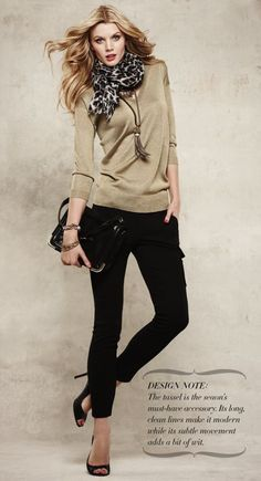 gold sweater + black Ann Taylor — See other ideas and pictures from the category menu…. Style Casual, Classy Casual, Style Me, Casual Outfits, Cute Outfits, Office Outfits, Classic Style, Gold Sweater, Sweater Scarf