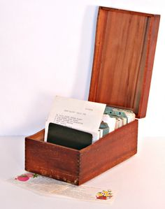 Vintage wood recipe box with recipes. $28.00, via Etsy. starting the recipe collection