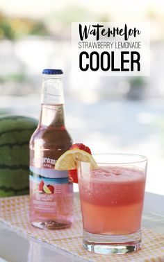 Watermelon + Strawberry Lemonade Cooler :: Watermelon Cocktail
