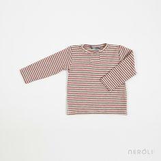 Camiseta roja a rayas con manga larga para bebé de 1 + In The Family. #baby #TShrit #fashion #NeroliByNagore #SS14 #OneMoreInTheFamily