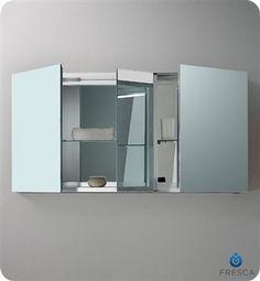 "Amazon.com - Fresca FMC8013 50"" Triple Door Frameless Medicine Cabinet with Four Glass Shelve, Mirror - Bathroom Medicine Cabinet With Mirror"