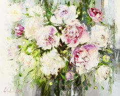 'Peonies' by Gleb Goloubetski Oil on Canvas 80cm x 100cm