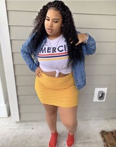 20 Trendy Summer Outfits Ideas For Plus Size Women Thick Girl Fashion, Curvy Fashion, Plus Size Fashion, Fashion Fall, Fashion Women, Fashion 2018, Cheap Fashion, Thick Girls Outfits, Curvy Girl Outfits