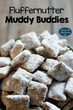 We combined 2 of our favorite snacks- Fluffernutters and Muddy Buddies and created the irresistibly scrumptious Fluffernutter Muddy Buddies. Best Dessert Recipes, Apple Recipes, Fun Desserts, Great Recipes, Snack Recipes, Favorite Recipes, Easy Recipes, Healthy Protein Bars, Peanut Butter Snacks