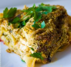Spicy Lasagna Verde with Green Basil Pesto. Vegan.