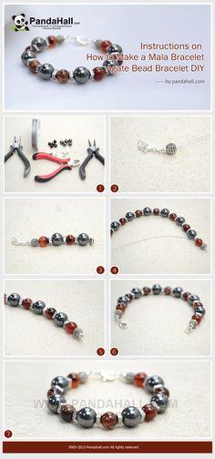 Instructions on How to Make a Mala Bracelet - Agate Bead Bracelet DIY Square Knot Bracelets, Ankle Bracelets, Jewelry Bracelets, Silver Bracelets, Mala Bracelet Diy, Diy Necklace, Beaded Jewelry, Handmade Jewelry, Diy Accessoires