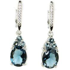c155582cea74 London Topacio Azul Oscuro 32x8mm Clásico Blanco CZ Mujer 925 pendientes de  plata