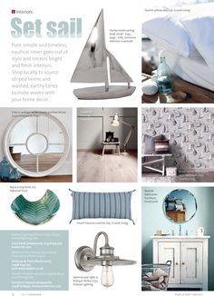 ~ Set sail ~ Navigate your way to the nautical look at the heart of the home. Nautical Looks, Set Sail, Striped Linen, Sailing, Pillow Cases, Home And Garden, Gardens, Homes, Interiors